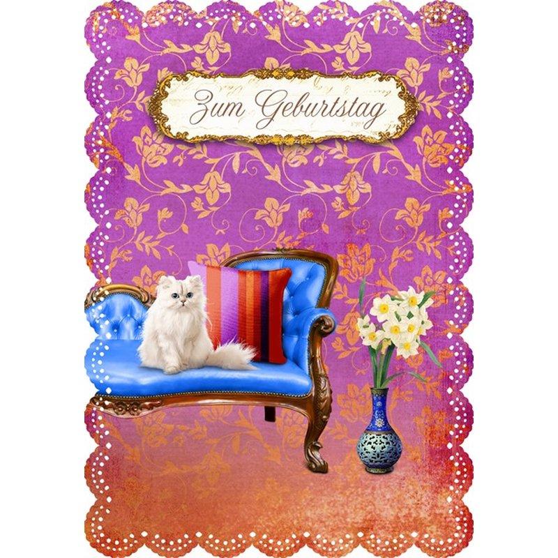 Gespaensterwald Geburtstagskarte Zum Geburtstag mit Katze