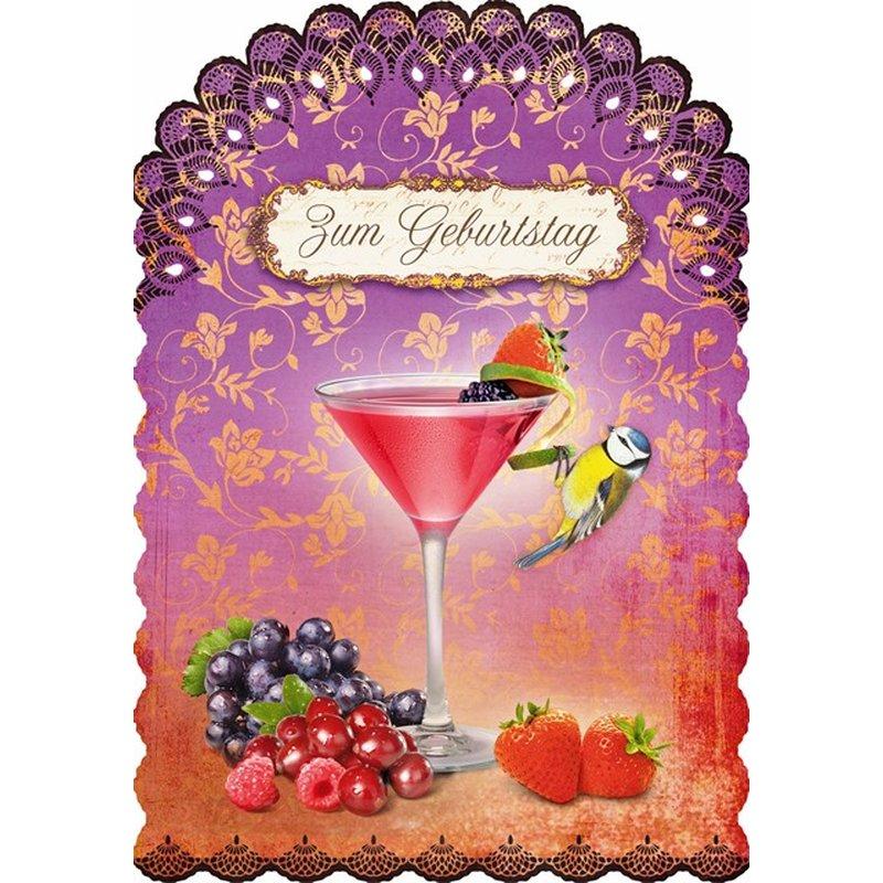 Gespaensterwald Geburtstagskarte Zum Geburtstag mit Cocktail und Blaumeise