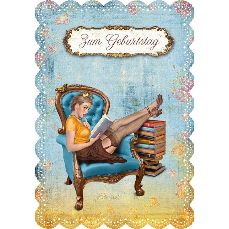 Gespaensterwald Geburtstagskarte Zum Geburtstag - lesende Frau