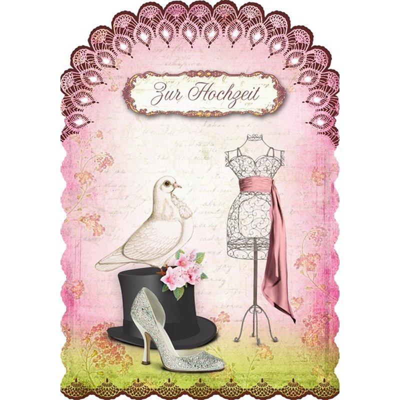 Gespaensterwald Glückwunschkarte Zur Hochzeit - Zylinder, Schärpe, Taube, Schuh
