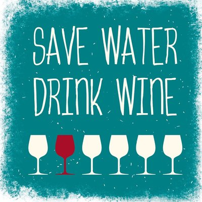 Marmorfliese Save water drink wine